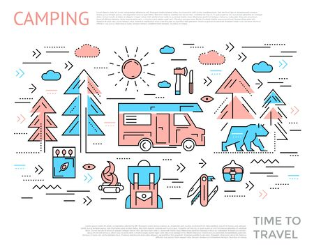 Camping horizontal concept with two colors icon set combined in line composition vector illustration Zdjęcie Seryjne - 128174618