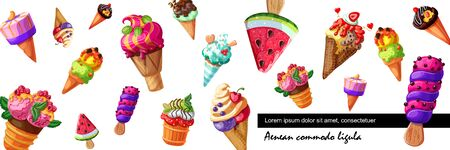 Cartoon fresh ice cream background with icecream of various design with different fruits and berries flavors vector illustration Stock fotó - 128174620