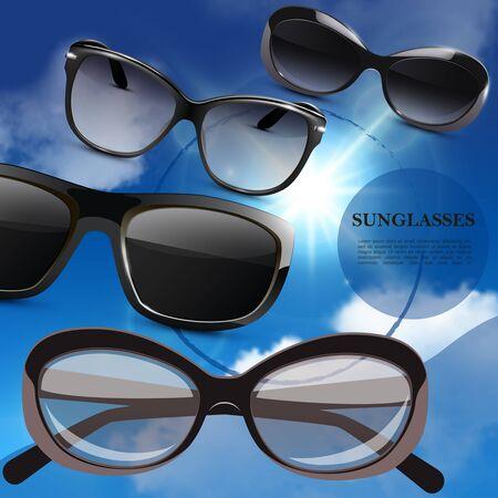 Realistic modern stylish sunglasses poster