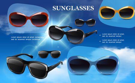 Realistic modern eyeglasses template Illustration