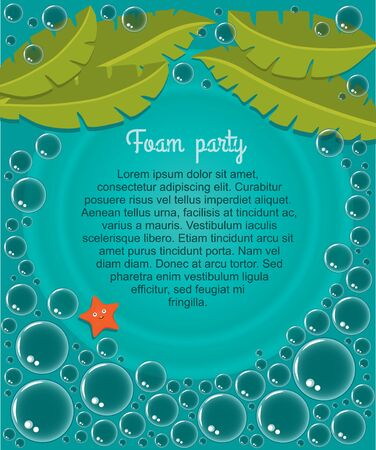 Beach foam party advertising poster with text soap water bubbles palm tree leaves and starfish vector illustration Ilustracja