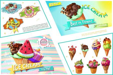 Cartoon ice cream bright composition