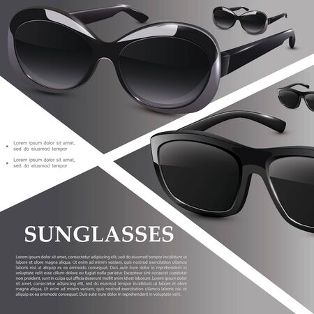 Realistic modern sunglasses template with black elegant eyeglasses with plastic rims on gray background vector illustration