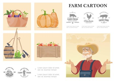 Cartoon farming and agriculture composition Illusztráció