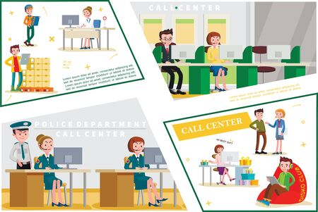 Flat helpline service concept with support workers of shop medical bank police department call centers vector illustration Ilustracja