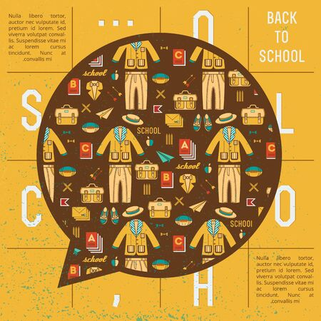 Yellow school background with crossword cloud talk and seamless pattern with school cloth Ilustracja