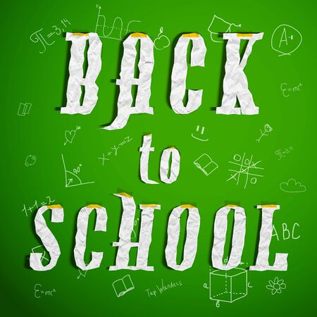 Scholastic colored background with white letters combined in words on green school fond vector illustration