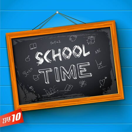 Inscription school time and educational elements at blackboard with wooden flame on textured blue background