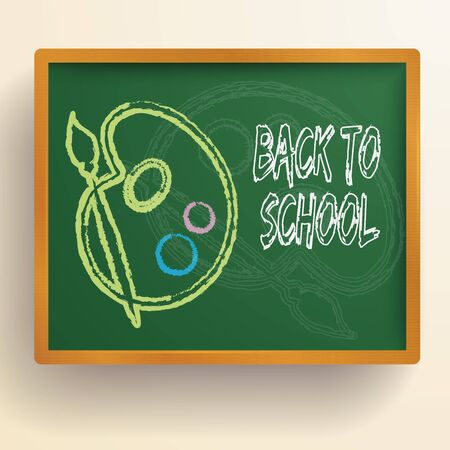 Back to school background with realistic green chalkboard and colorful childish image of pallette and brush vector illustration Ilustracja