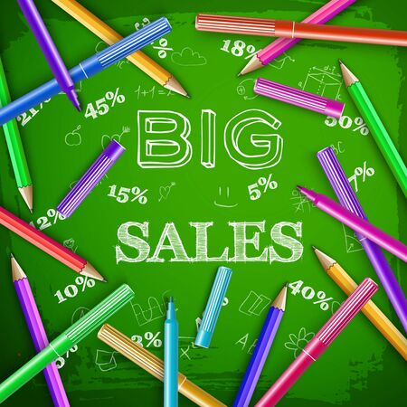 School sale template with hand drawn inscription elements colorful pencils marker pens on green chalkboard vector illustration Ilustracja