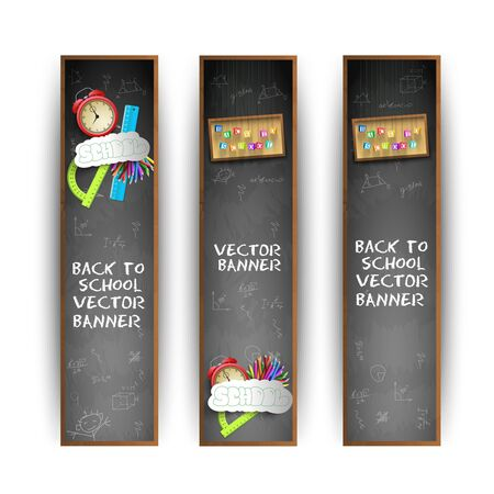 Three vertical school banner set with background in blackboard style and white headlines vector illustration