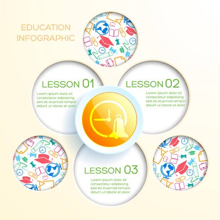 School infographic template with cut out round holes and paper circle with alarm bell icon