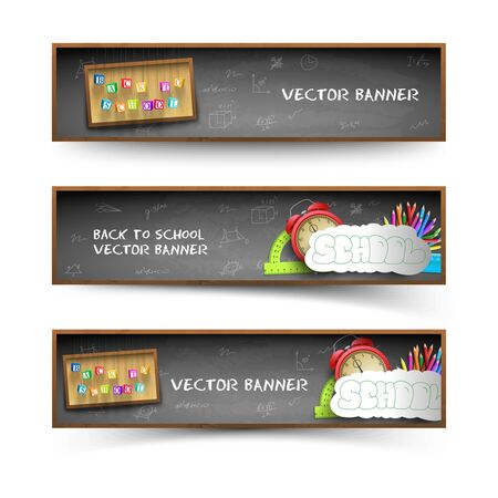Three isolated blackboard banner set with cubes graffiti and school supplies vector illustration