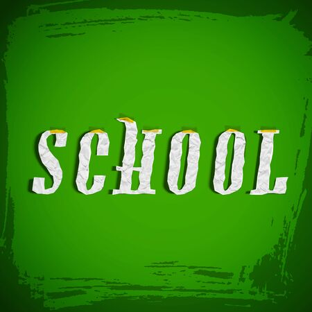 Grunge school composition with one word school in paper style on green background vector illustration Ilustracja