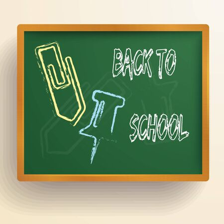 Back to school background with childish pictures and inscription on green chalkboard vector illustration
