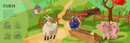 Cartoon farm colorful template with cute animals on countryside landscape and farming monochrome style emblems Çizim