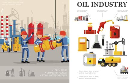 Flat oil industry concept with industrial workers fuel truck petrochemical plant oil derrick drilling rig canisters flasks barrels gas station pump