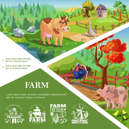 Cartoon farm animals template with cute pig turkey cow goose chickens beautiful nature and countryside landscapes and farming labels vector illustration Zdjęcie Seryjne - 128174643