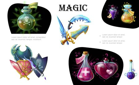Cartoon game elements colorful concept with medieval weapons and bottles of different magic potions