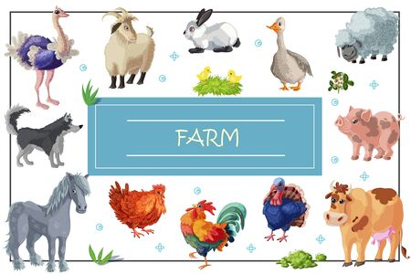 Cartoon farm animals template with horse dog ostrich goose rooster chickens hen cow pig rabbit sheep goat turkey illustration