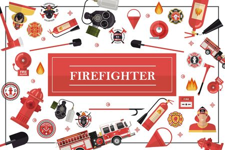 Flat firefighting colorful template with fireman shovel fire truck hose extinguishers hydrants bucket alarm bell axe shovels gas mask firefighter emblems vector illustration Zdjęcie Seryjne - 128174644