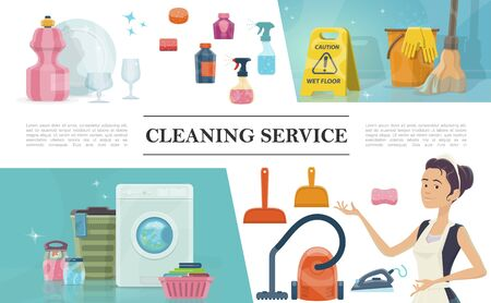 Cartoon cleaning service concept with maid washing machine soap iron clean plate glasses mop bucket vector illustration