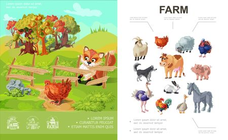 Cartoon farm colorful concept with different animals and fox looking at chicken on nature landscape vector illustration