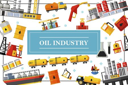 Flat oil industry template with petrochemical plant fuel trucks railroad petroleum tanks derrick tanker flasks canisters barrels gas station pipeline  イラスト・ベクター素材