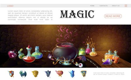 Cartoon game magic elements website template with medieval weapons human eyes witch cauldron and bottles of magic potions vector illustration  Ilustracja