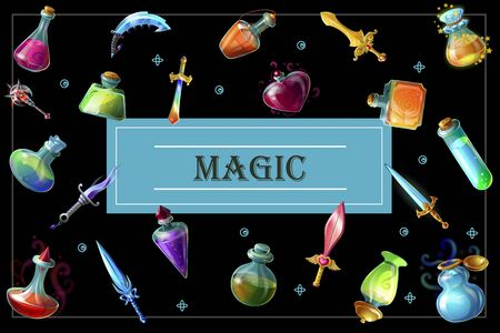Cartoon game elements template with swords daggers mace bottles and flasks of different magic potions on dark background