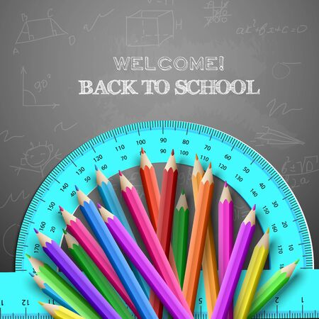 Back to school background colored pencils and a protractor on doodle background