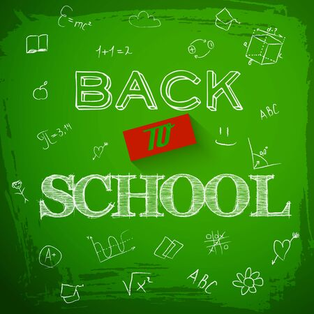 Back to school background with green blackboard graphics and headline back to school written in chalk illustration