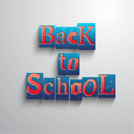 Bright back to school background with square isolated elements combined in in headline vector illustration