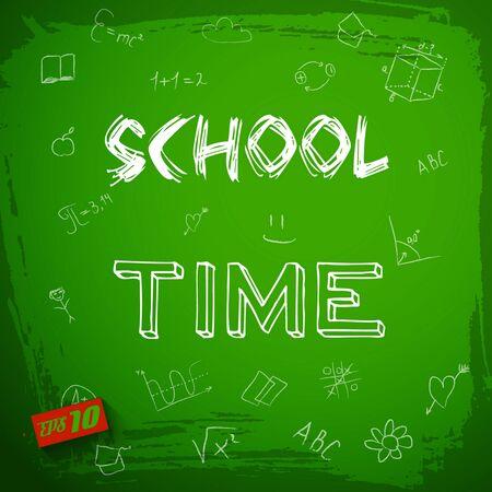 School time blackboard background written by white chalk bold on the blackboard vector illustration Zdjęcie Seryjne - 128174651
