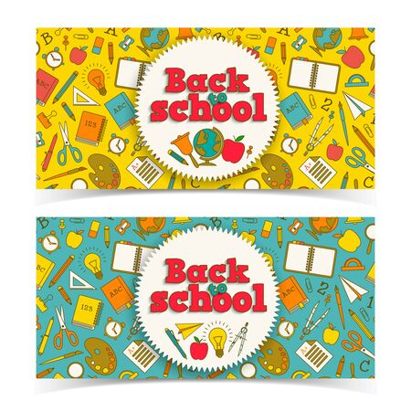 Education horizontal banners with stickers and colorful cartoon school supplies on light background