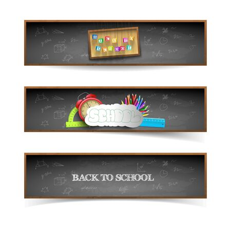 Three isolated dark style back to school banners set with blackboard background vector illustration Ilustracja