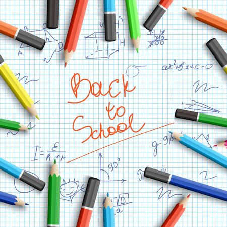 Back to school background with inscription hand drawn elements colorful realistic pencils on paper note vector illustration