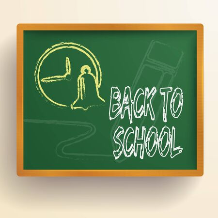 School education background with hand drawn clock and bell on green chalkboard isolated vector illustration