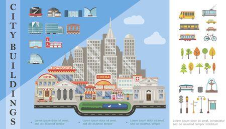 Flat city elements concept with cityscape modern municipal buildings Standard-Bild - 127996684