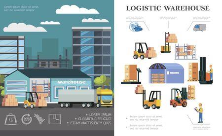 Il concetto di logistica del magazzino piatto con i lavoratori di stoccaggio del processo di caricamento del camion carrelli elevatori diverse scatole e contenitori illustrazione vettoriale Vettoriali