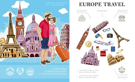 Colorful Trip To Europe concept with couple in love famous attractions