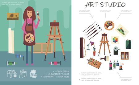 Flat art studio concept with easel professional artistic tools and painter holding painting palette and paintbrush vector illustration