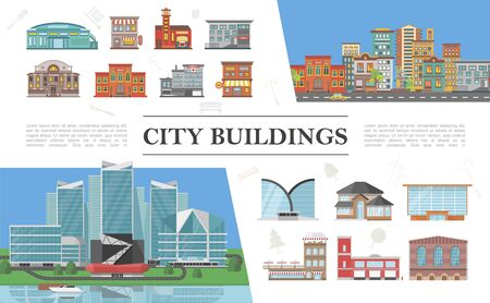 Flat cityscapes colorful composition with modern and municipal city buildings Ilustração