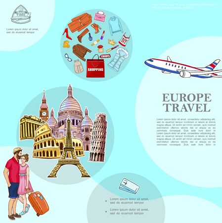 Trip To Europe template with couple airplane european attractions woman clothing shoes cosmetic products sunglasses vector illustration Ilustracja