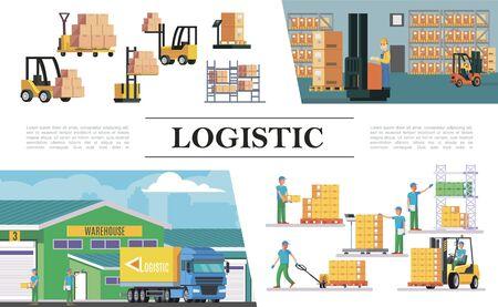 Composición logística de almacén plano con carretillas elevadoras, cajas de trabajadores de almacenamiento, carga, pesaje, elevación y transporte, procesos, ilustración vectorial