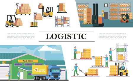 Flat warehouse logistics composition with truck forklifts storage workers boxes loading weighing lifting and transportation processes vector illustration
