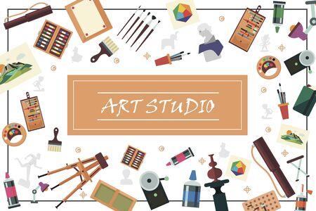 Flat art studio elements concept