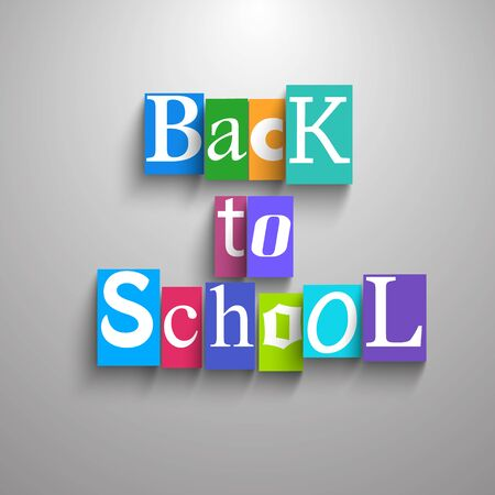 Back to school multicolored square piece of paper background combined in headline vector illustration Ilustração