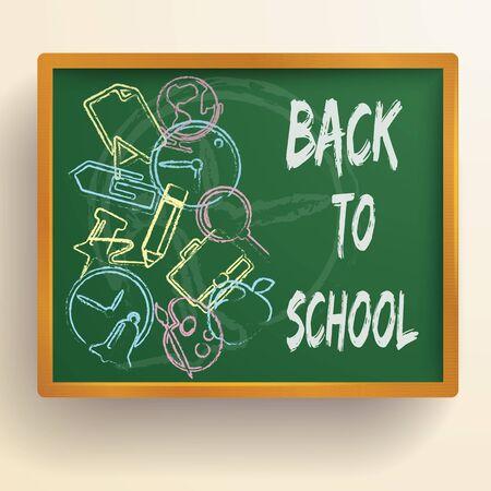 Powrót do szkoły szablon z ręcznie rysowanymi kolorowymi elementami na zielonej tablicy na białym tle ilustracji wektorowych