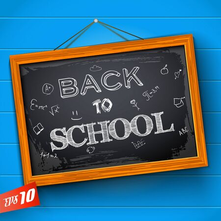 Lettering back to school and sketched educational symbols at chalkboard on textured blue